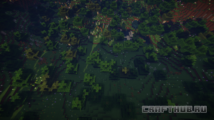 Сид на лес с цветами и крепостью