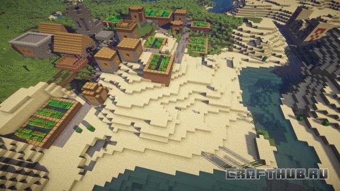 Сид деревни с лошадьми