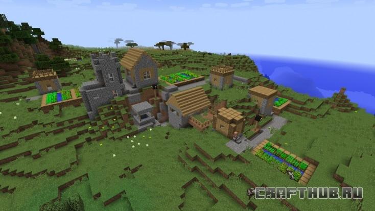 Вторая из трёх деревень, рядом с лесом.