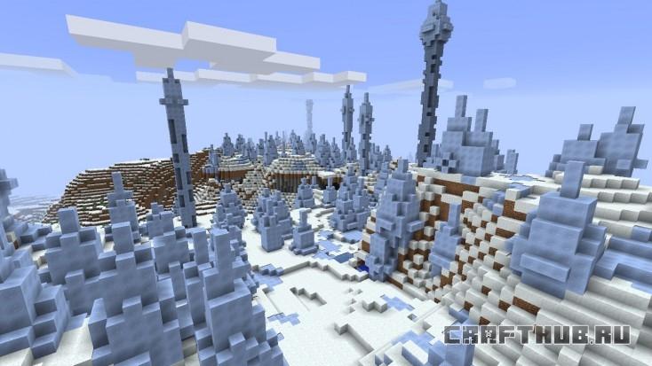 Холодный биом с ледяными шипами, расположенный на юге.