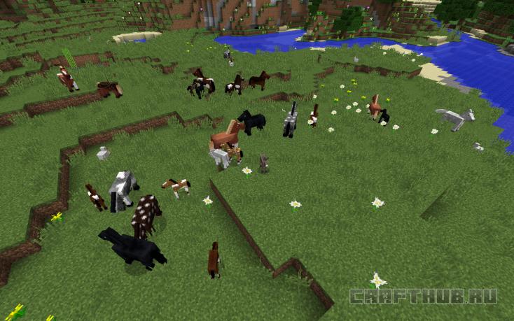 Лошади на лугу Майнкрафт